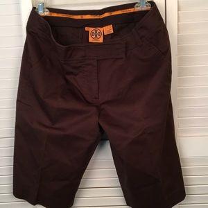 TORY BURCH Bermuda High Rise Shorts. Chocolate SZ8